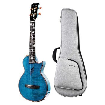 Enya Tenor Ukulele All Solid Flame Maple One-Body High Gloss Ukulele with Built-in AcousticPlus Pickup and Deluxe Ukulele Case