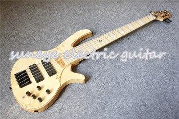 China Custom Shop Natural Wood deOlivera 5 String Electric Bass Guitar Black Hardware Bass Guitars 5 Strings Left Handed Availab