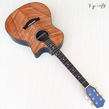 high grade flame maple top cutaway design electric acoustic guitar high gloss 6 string folk guitar with EQ tuner function