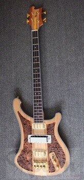 Weifang Rebon 4 string hand carved ricken electric bass guitar in wood colour