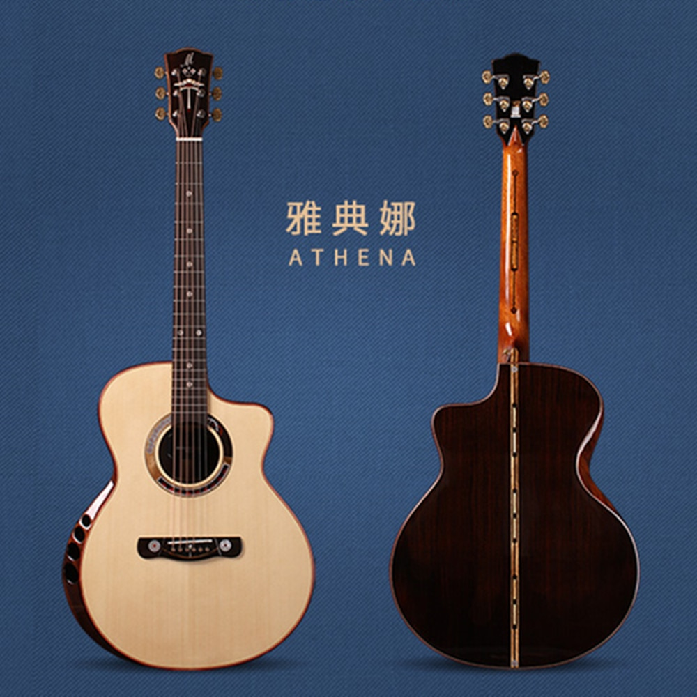 Merida Athena 41 Inch Full Solid Wood Acoustic guitar,Top Quality Arm Rest GC Cut Way Acoustic Guitar ,Free Shipping
