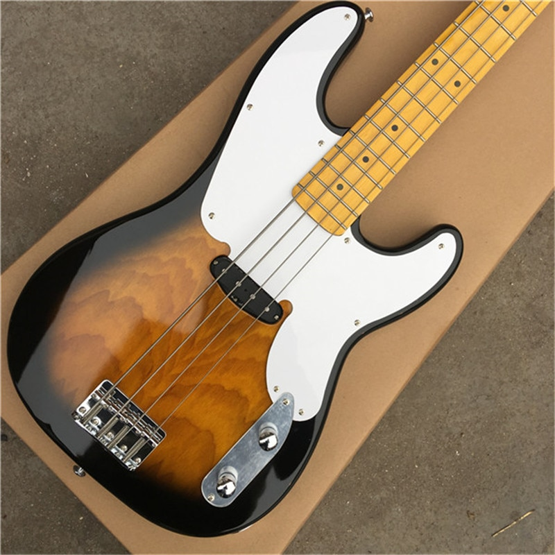 High-quality custom natural old-fashioned 4-string bass electric guitar musical instrument store with top quality.